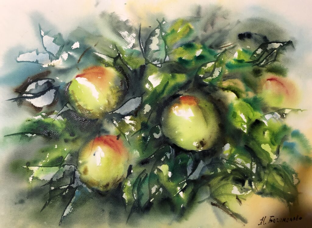apples watercolor painting green apples