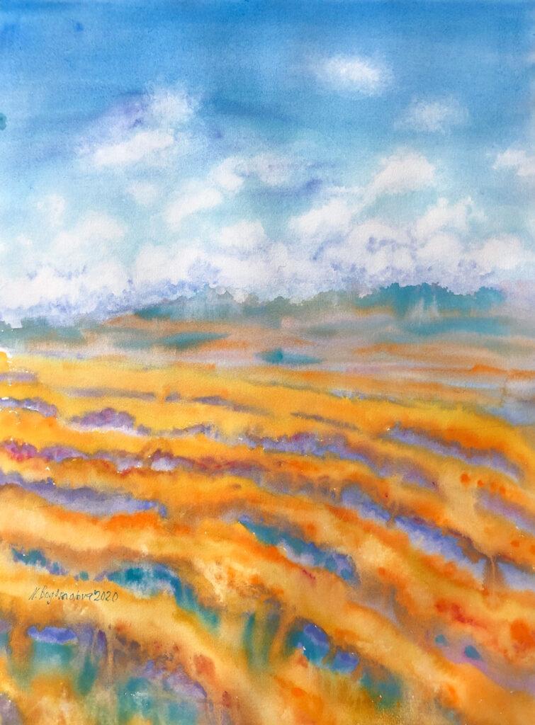 blue landscape orange  landscape watercolor photo