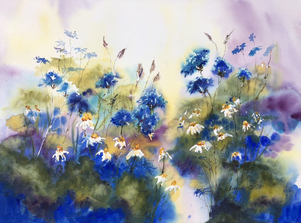 Blue flowers painting. Cornflowers and daisies. Watercolor Photo