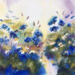 blue flowers painting