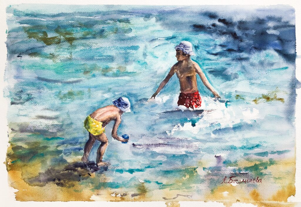 Painting of beach scene. Children on the see. Summer. Watercolor. Photo