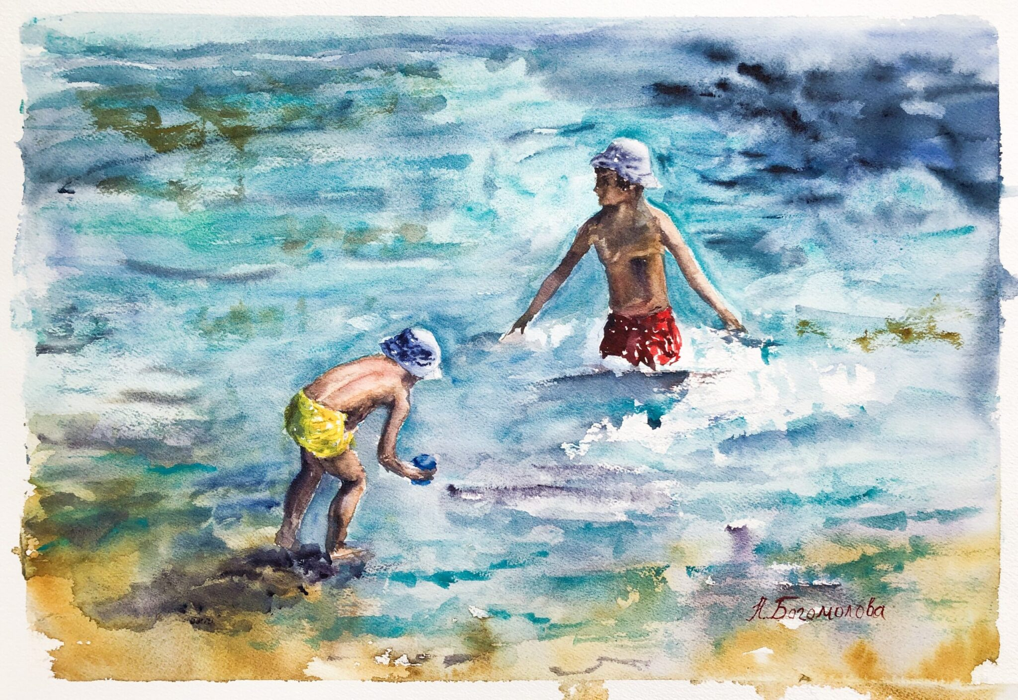 Painting of beach scene. Children on the see
