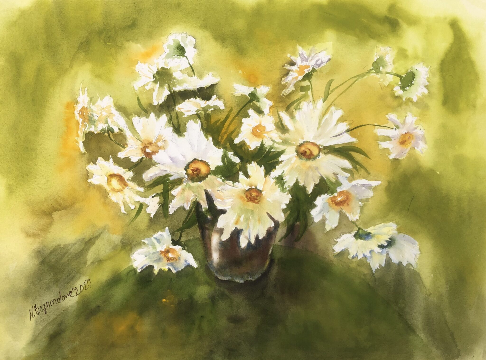 daisies flowers painting