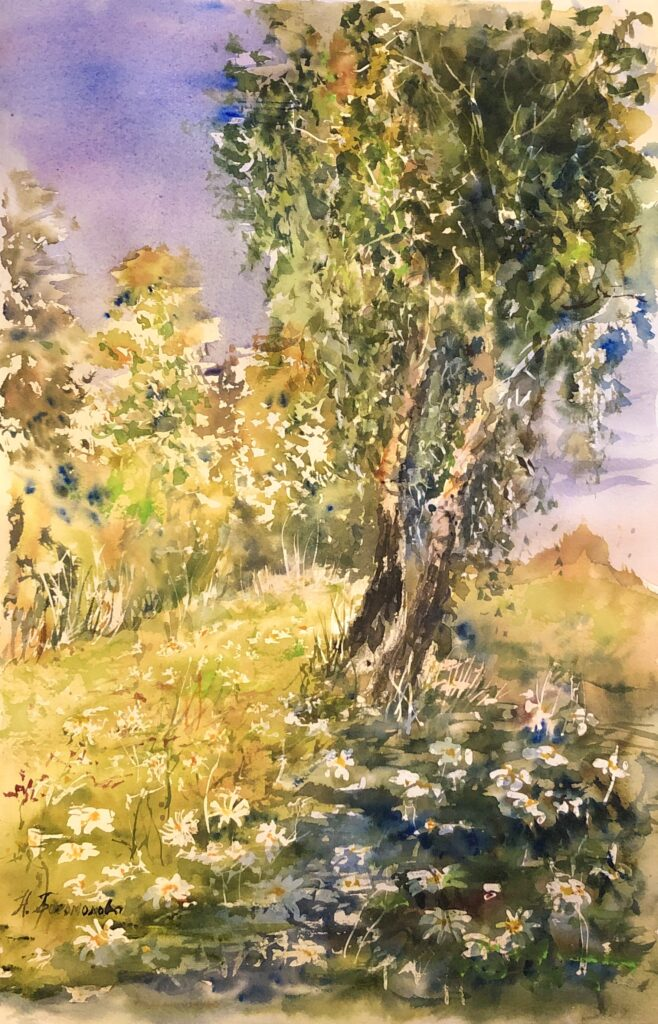daisies landscape daisies watercolor daisies in watercolor