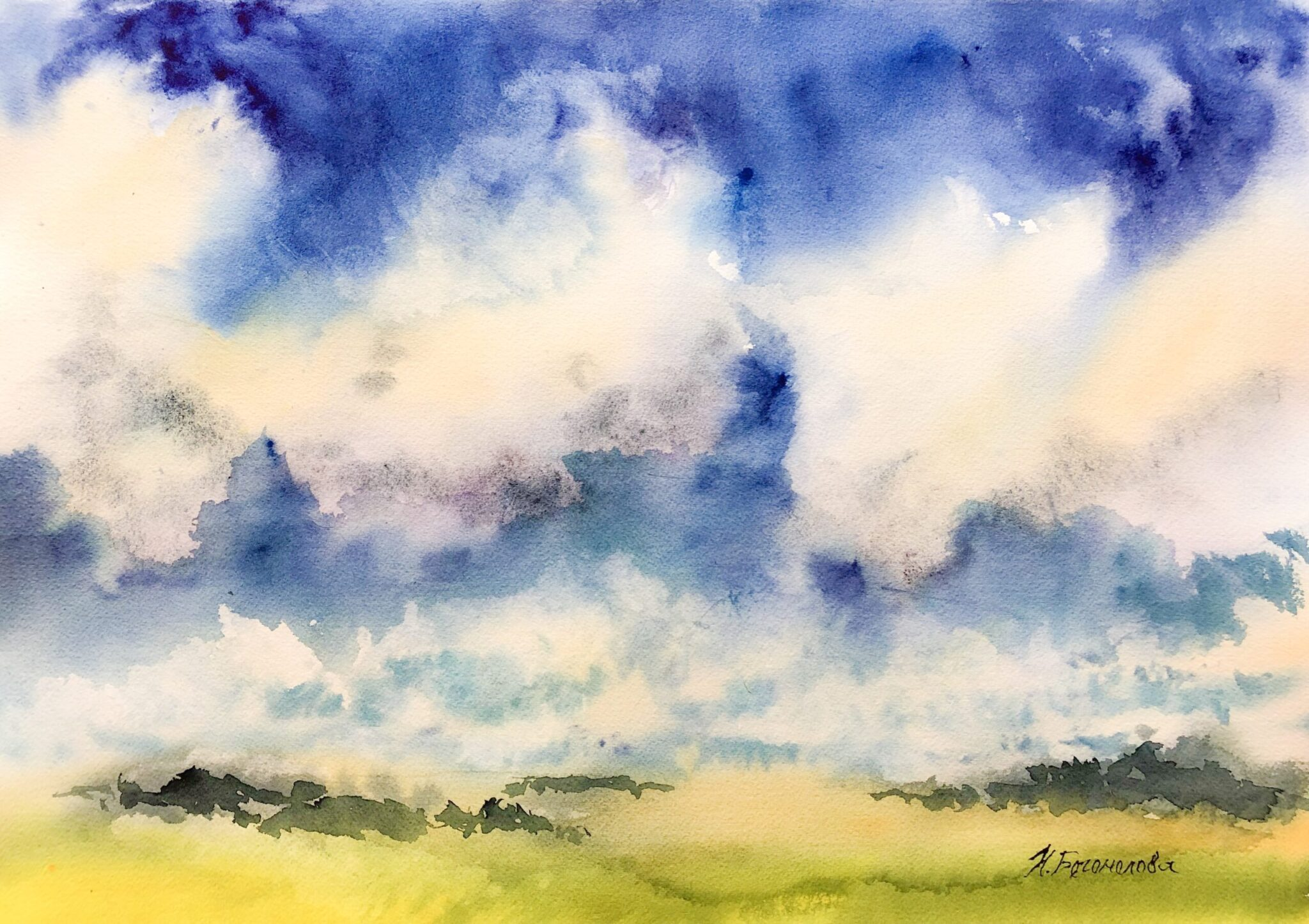 Sky watercolor painting. Fluffy clouds