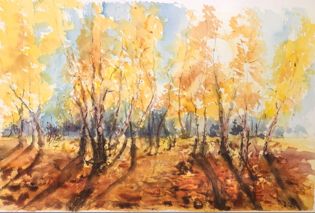 Golden autumn landscape painting fall landscape painting forest painting woods painting watercolor fall painting photo