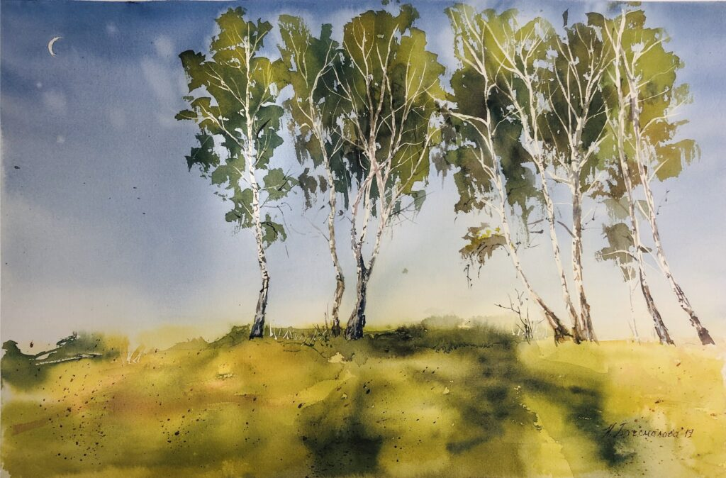 birch trees watercolor painting birch trees in watercolor landscape painting watercolor evening