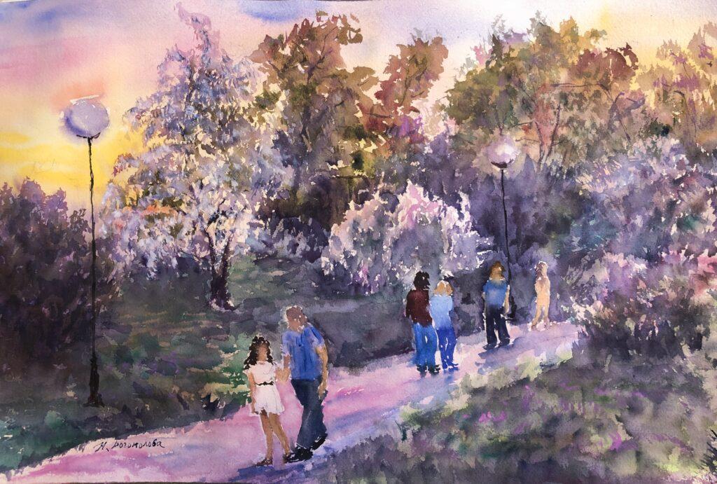 romantic landscape painting lilac evening