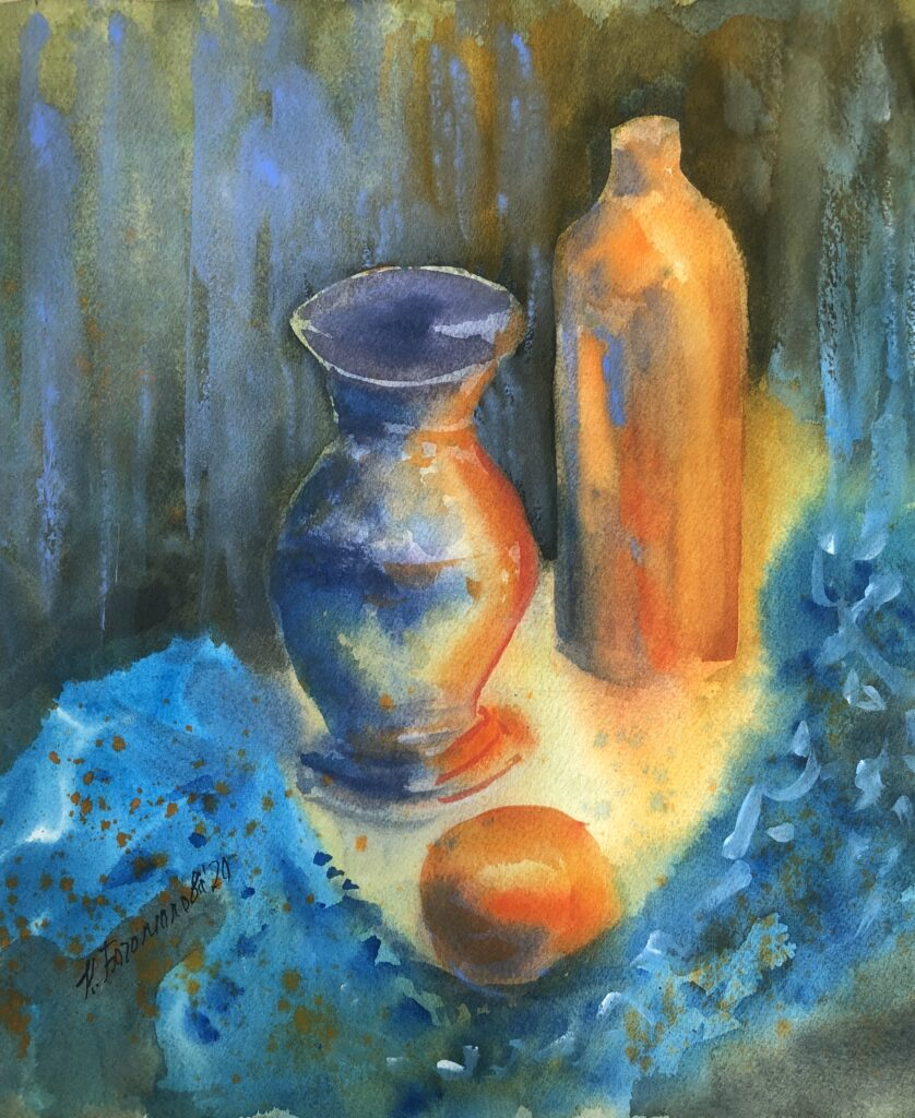 orange still life watercolor still life mandarin painting photo