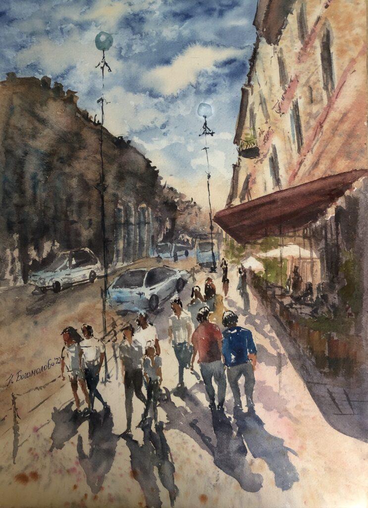 Cityscape painting nevsky avenue