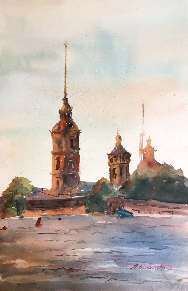 Cityscape silhouette painting River city painting Peter and Paul fortress. Neva River Morning