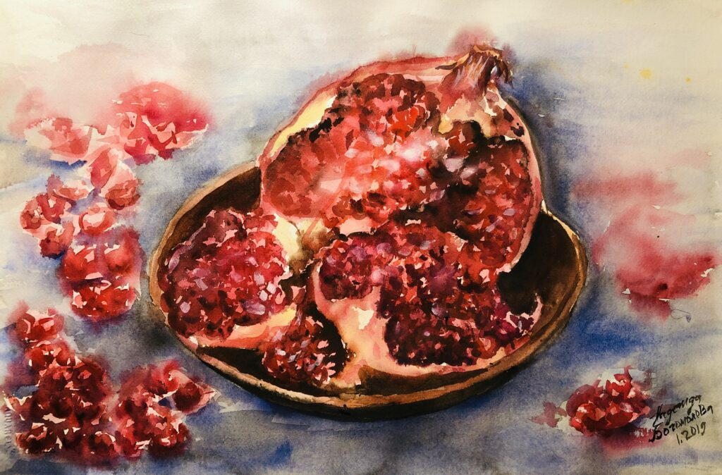 Watercolor pomegranate still life painting
