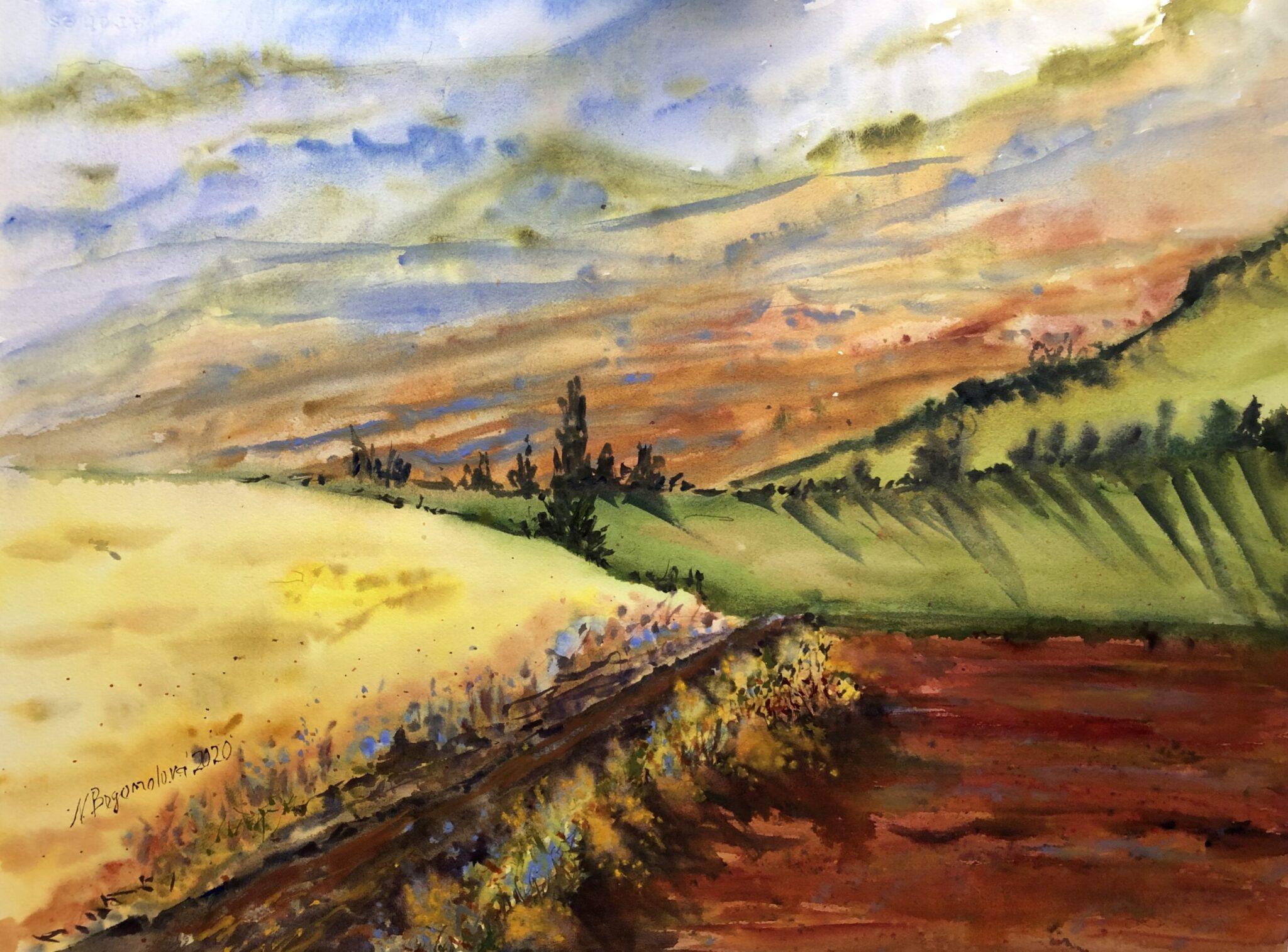 summer watercolor landscape