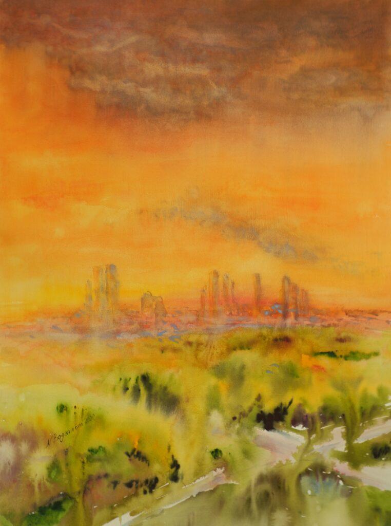 landscape painting sunset orange watercolor background orange watercolor storm over the city orange painting watercolor sunset photo