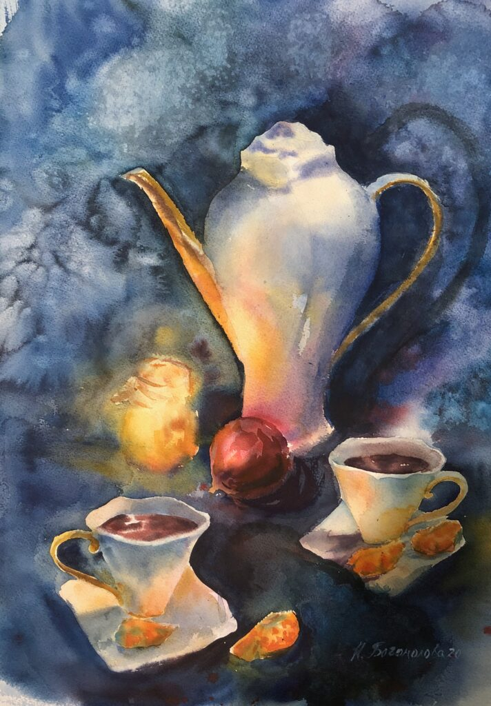 teapot painting painting of teapot christmas still life watercolor still life painting painting still life in watercolor
