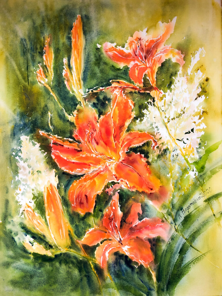 Tiger lilies painting. Watercolor flowers