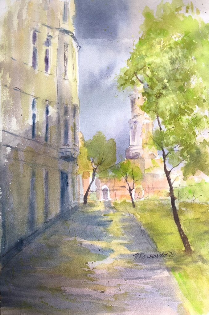 cityscape in watercolor town painting spring city painting photo