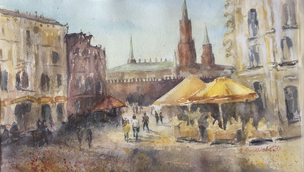 Watercolor city painting yellow, brown, gold yellow umbrellas photo