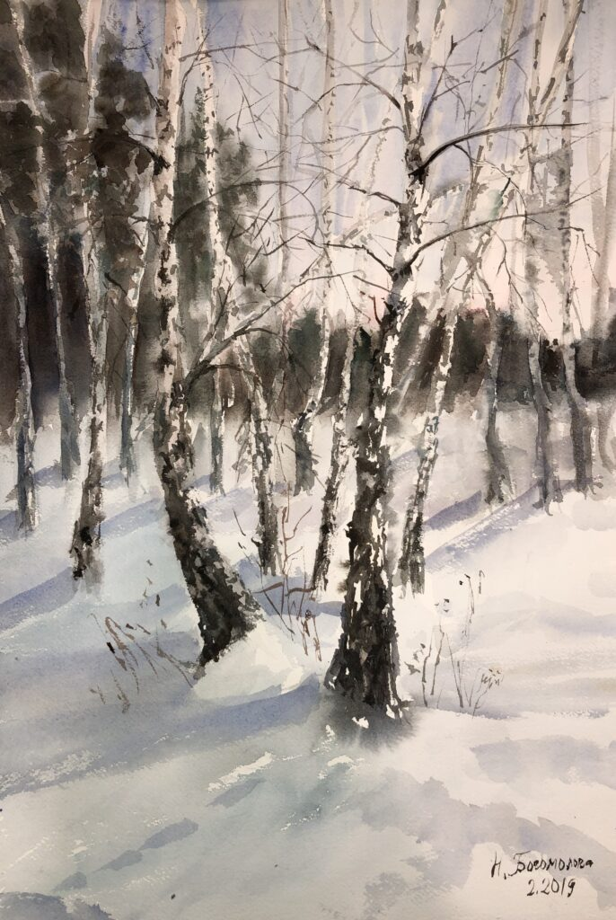birch trees painting winter landscape watercolor photo