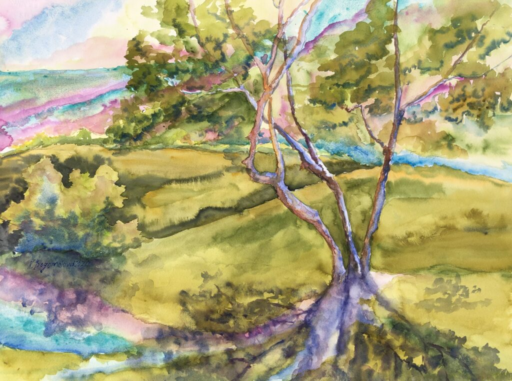 green valley landscape tree landscape tree landscape painting