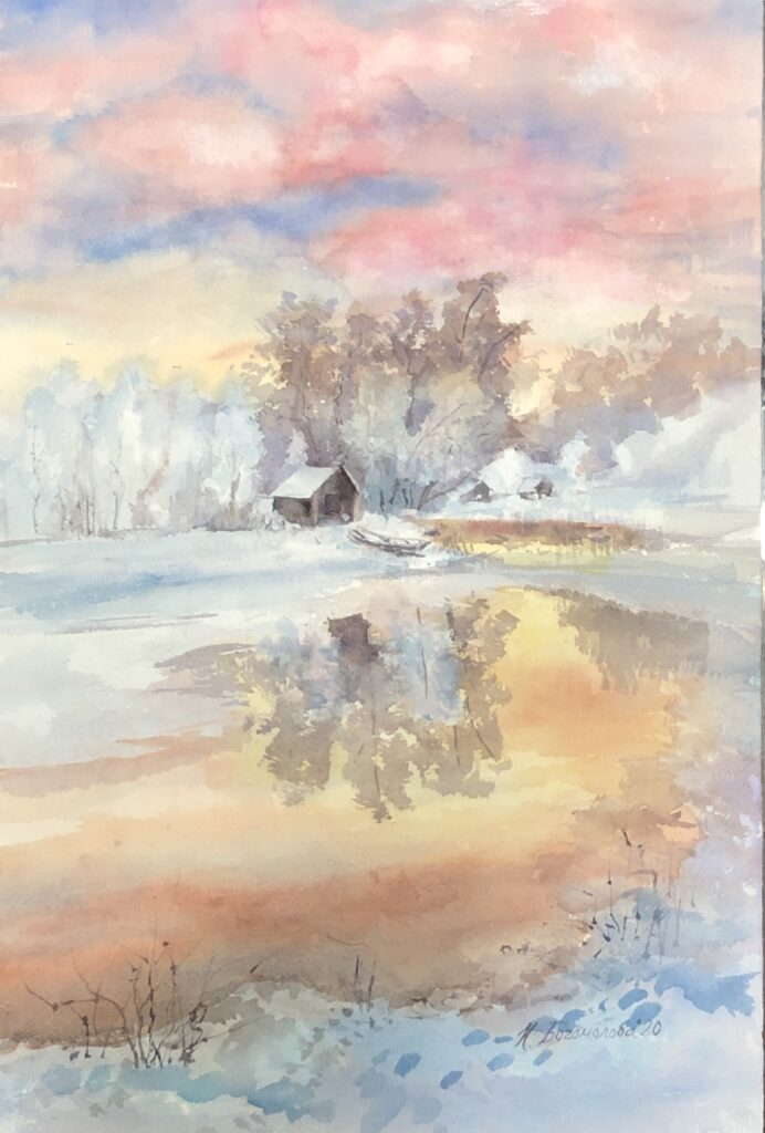 winter watercolor painting photo