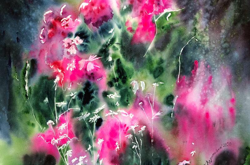 rose bush painting