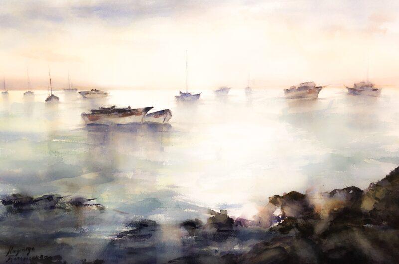 Fishing harbor. Sunrise